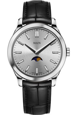 Maen Manhattan 40 Limited Moonphase Ice Grey Polished